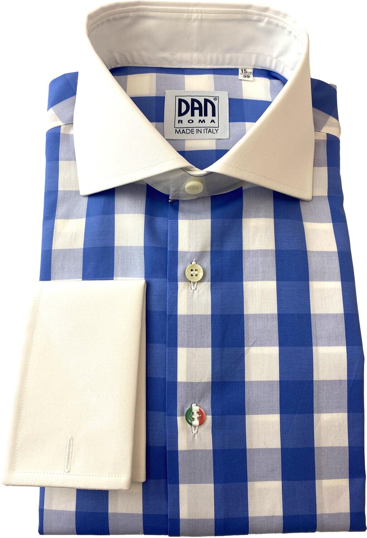 Exclusive shirt 100% Cotton Quadrettoni celesti CPB ITA