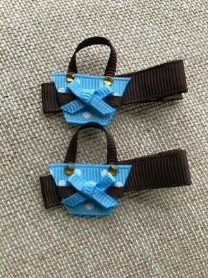 Brown and blue mini pocket book clips
