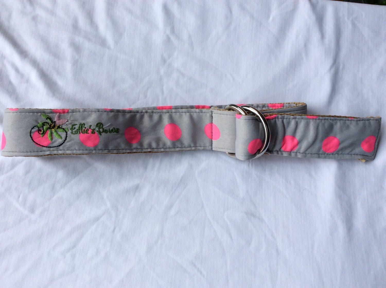Ribbon Belt Grey & Pink Polka Dot