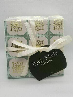 Sage Green & Gold Ceramic Coasters