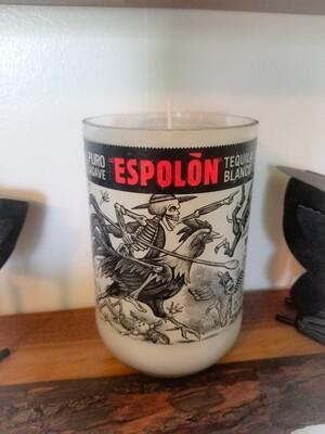 Espolon tequila bottle candle