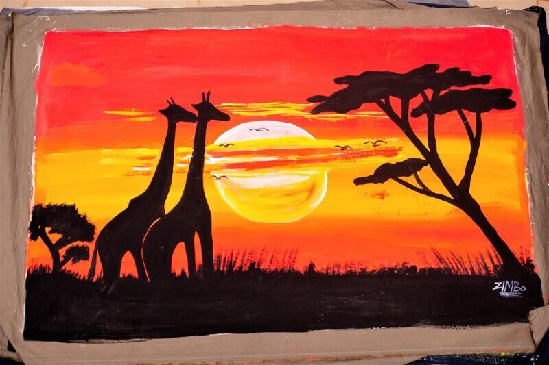 Giraffe's Sunset