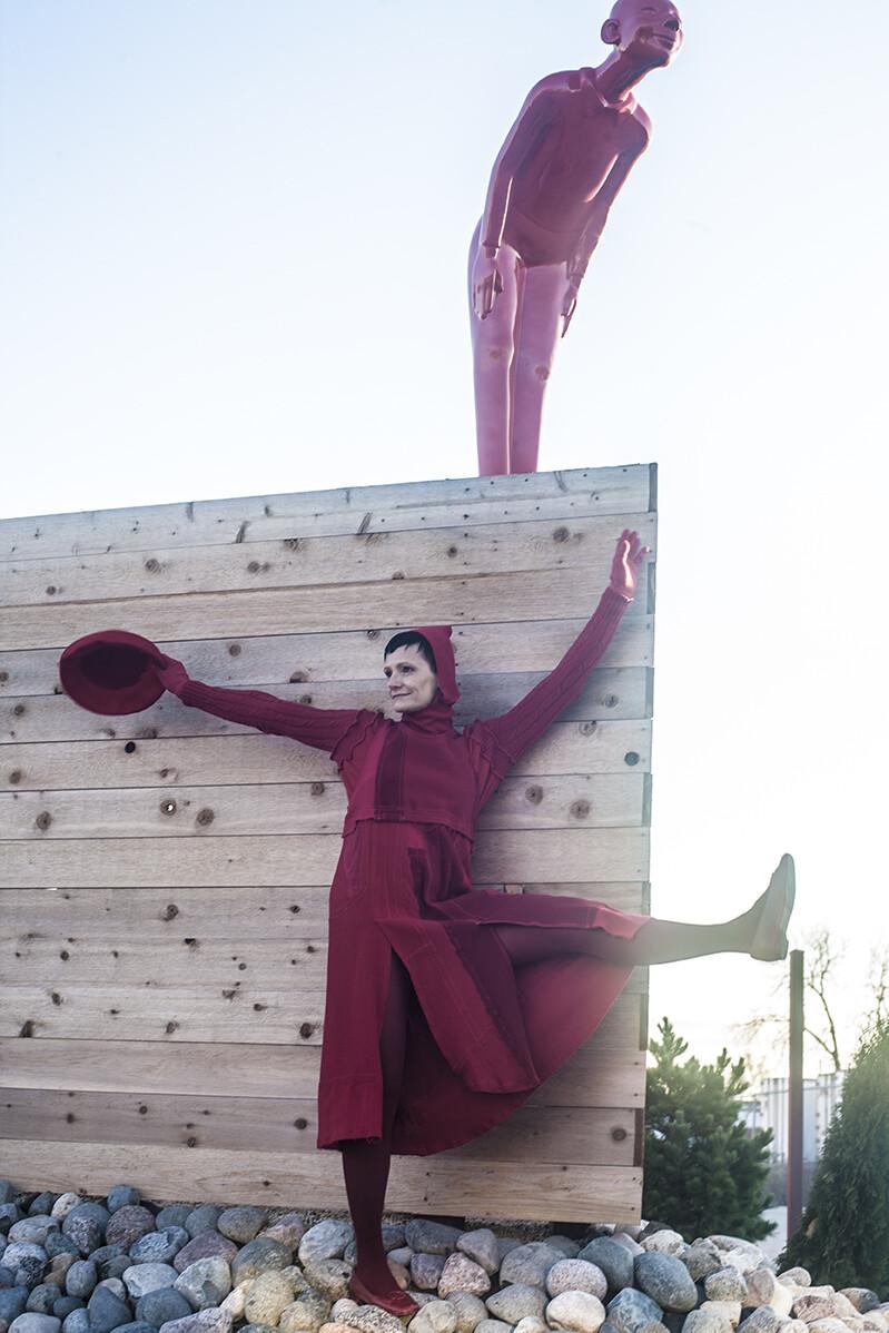 Red Wool Sleeveless Dress