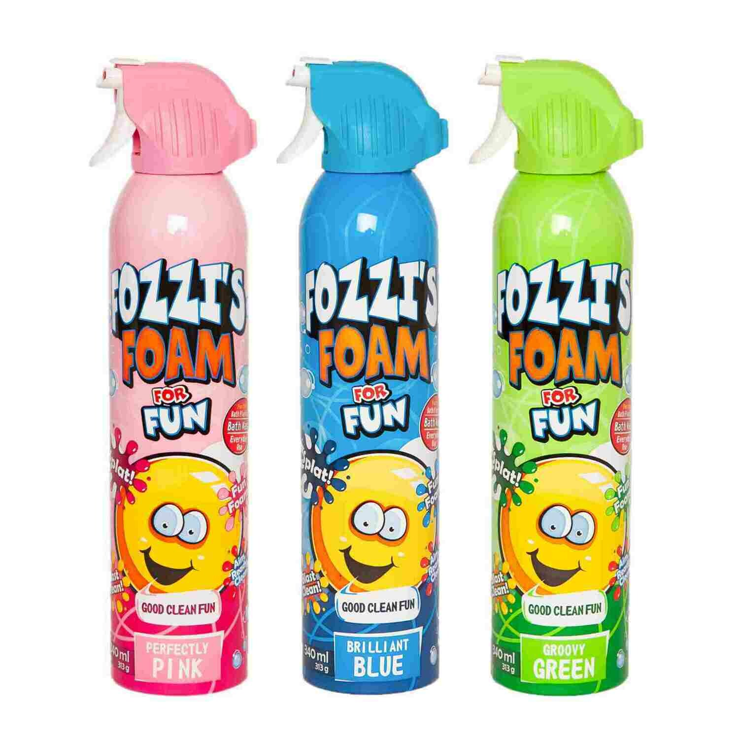 FOZZI's Bath Foam Aerosol for Kids, Brilliant Blue, Groovy Green and Perfectly Pink, Good Fozzi Fun, 11.04 ounces (313g) Each (Pack of 3) and Free Shipping