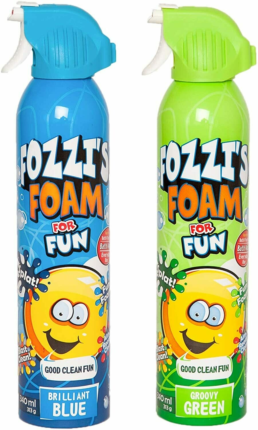 FOZZI's Bath Foam Aerosol for Kids, Brilliant Blue and Groovy Green, Good Fozzi Fun, 11.04 ounces (313g) Each (Pack of 2) (Free Shipping)
