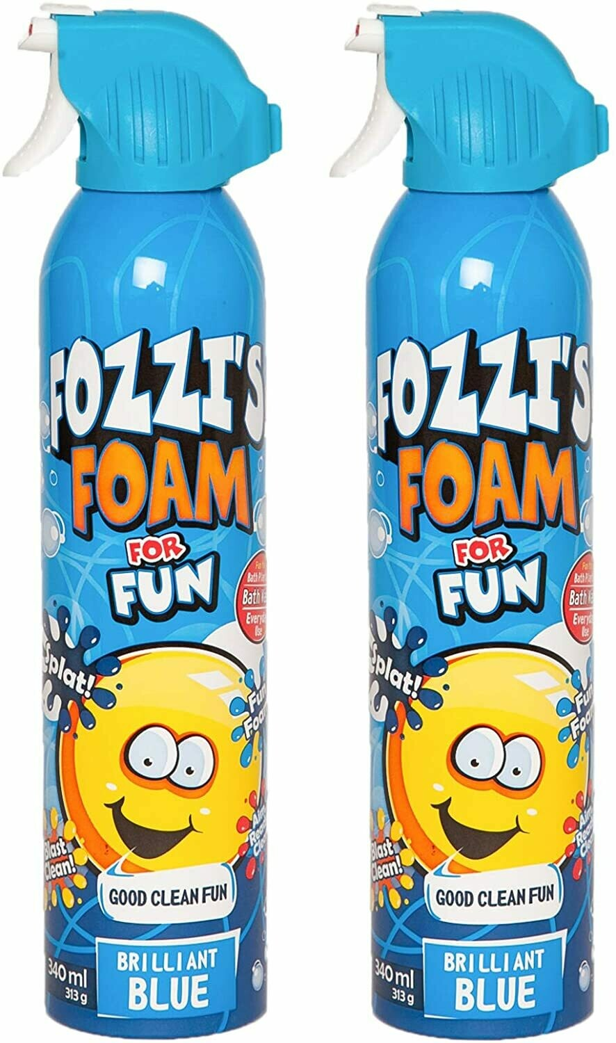 FOZZI's Bath Foam Aerosol for Kids, Brilliant Blue, Good Fozzi Fun, 11.49 ounces (340ml) Each (Pack of 2) (Free Shipping)