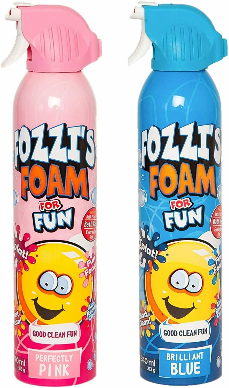 FOZZI's Bath Foam Aerosol for Kids, Brilliant Blue and Perfectly Pink, Good Fozzi Fun, 11.49 ounces (340ml) Each (Pack of 2) (Free Shipping)