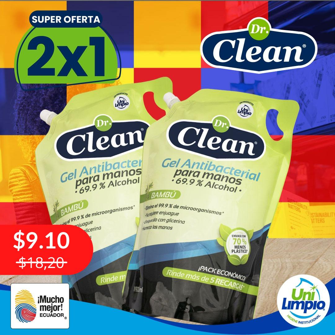 Promo 2x1 Gel Antibacterial Dr. Clean Doypack 1900 ml