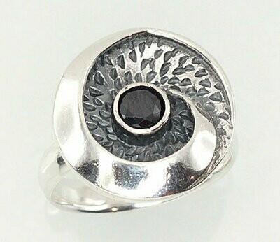 Sidabrinis žiedas, ADUN 2101210(POx-Bk)_CZ-BK