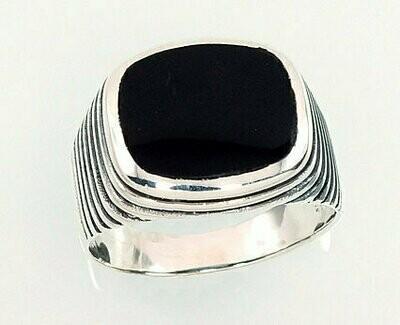 Sidabrinis žiedas, ADUN 2101358(POx-Bk)_ON