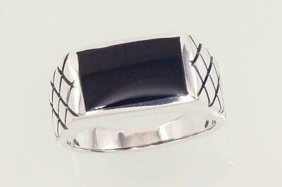 Sidabrinis žiedas, ADUN 2101583(POx-Bk)_ON