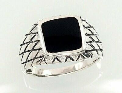 Sidabrinis žiedas, ADUN 2101362(POx-Bk)_ON