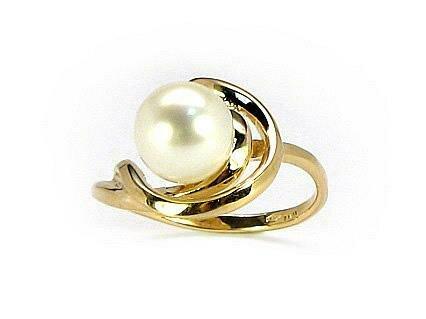 Moteriškas Žiedas, 17.5 dydis, modelis ADUM#1100047(Au-Y)_PE, Geltonas Auksas su kultivuoti perlai