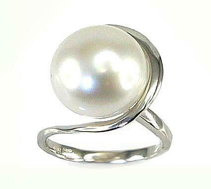 Moteriškas Žiedas, 17.5 dydis, modelis ADUM#1100057(Au-W)_PE, Baltas Auksas su kultivuoti perlai