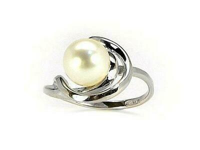 Moteriškas Žiedas, 18 dydis, modelis ADUM#1100047(Au-W)_PE, Baltas Auksas su kultivuoti perlai
