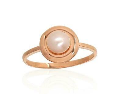 Moteriškas Žiedas, 16.5 dydis, modelis ADUM#1100924(Au-R)_PE, Raudonas Auksas su kultivuoti perlai