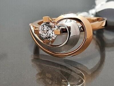 Auksinis žiedas su akute. Dydis 17