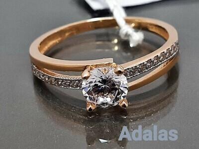 Auksinis žiedas su solidžia cirkonio akute. Dydis 18,5