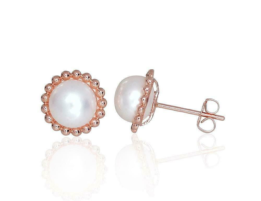 Auksiniai auskarai įveriami su perlais