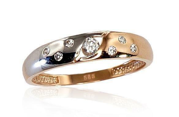 Moteriškas Žiedas, 16.5 dydis, modelis ADUM#1100273(Au-R+PRh-W)_CZ, Raudonas Auksas su Cirkoniu