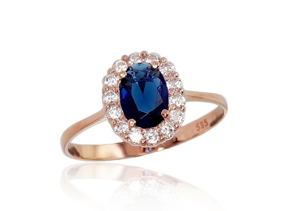 Simpatiškas moteriškas Žiedas, modelis ADUM1100540(Au-R)_CZ+CZ-B, mėlyna akute