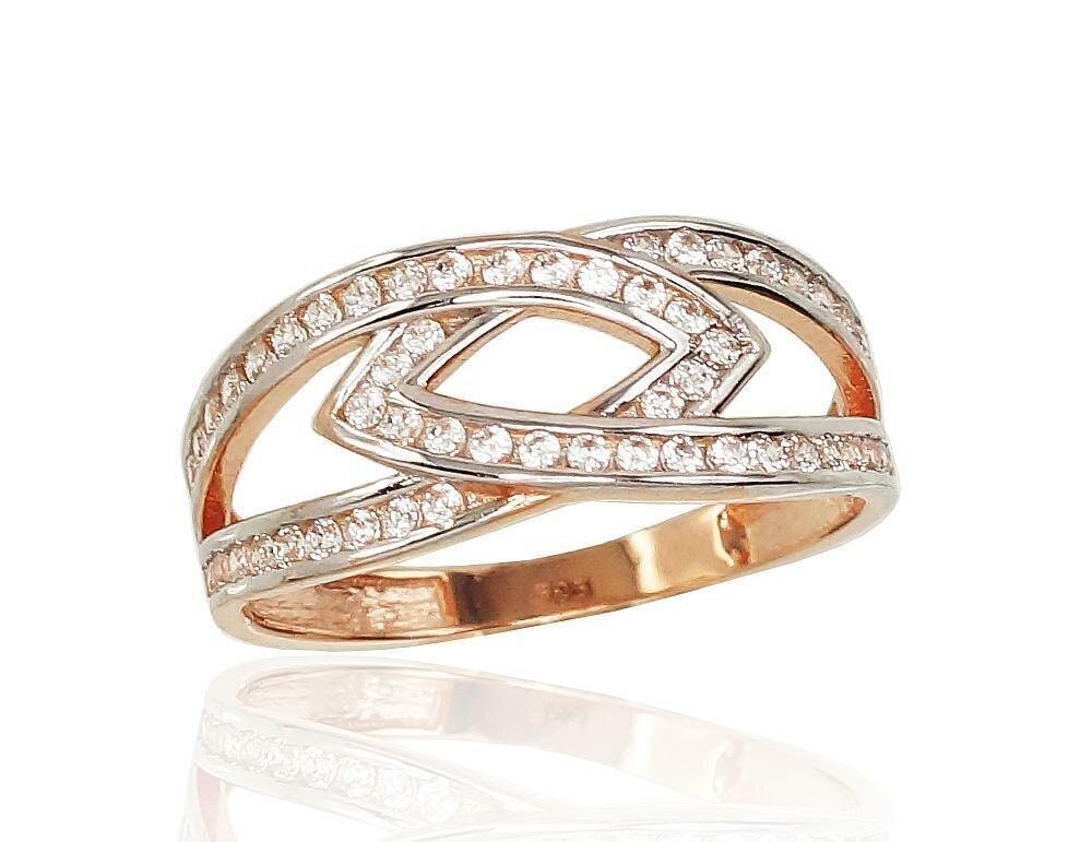 Moteriškas Žiedas, 16.5 dydis, modelis ADUM#1100820(Au-R+PRh-W)_CZ, Raudonas Auksas su Cirkoniu