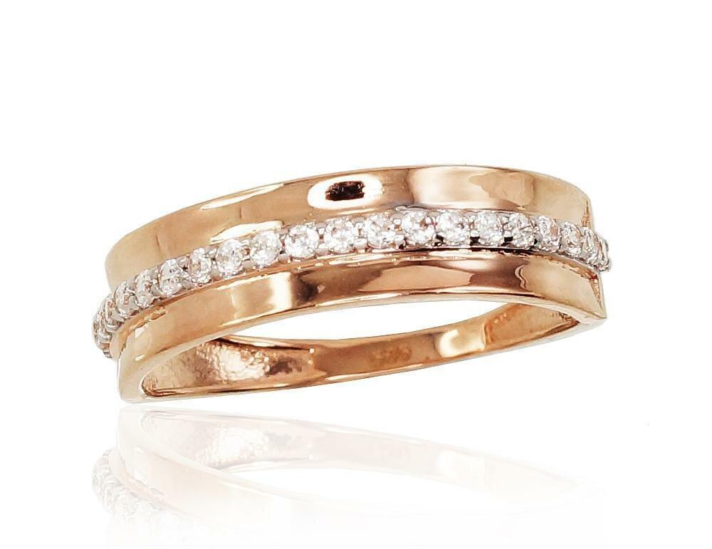 Moteriškas Žiedas, 16.5 dydis, modelis ADUM#1100833(Au-R+PRh-W)_CZ, Raudonas Auksas su Cirkoniu