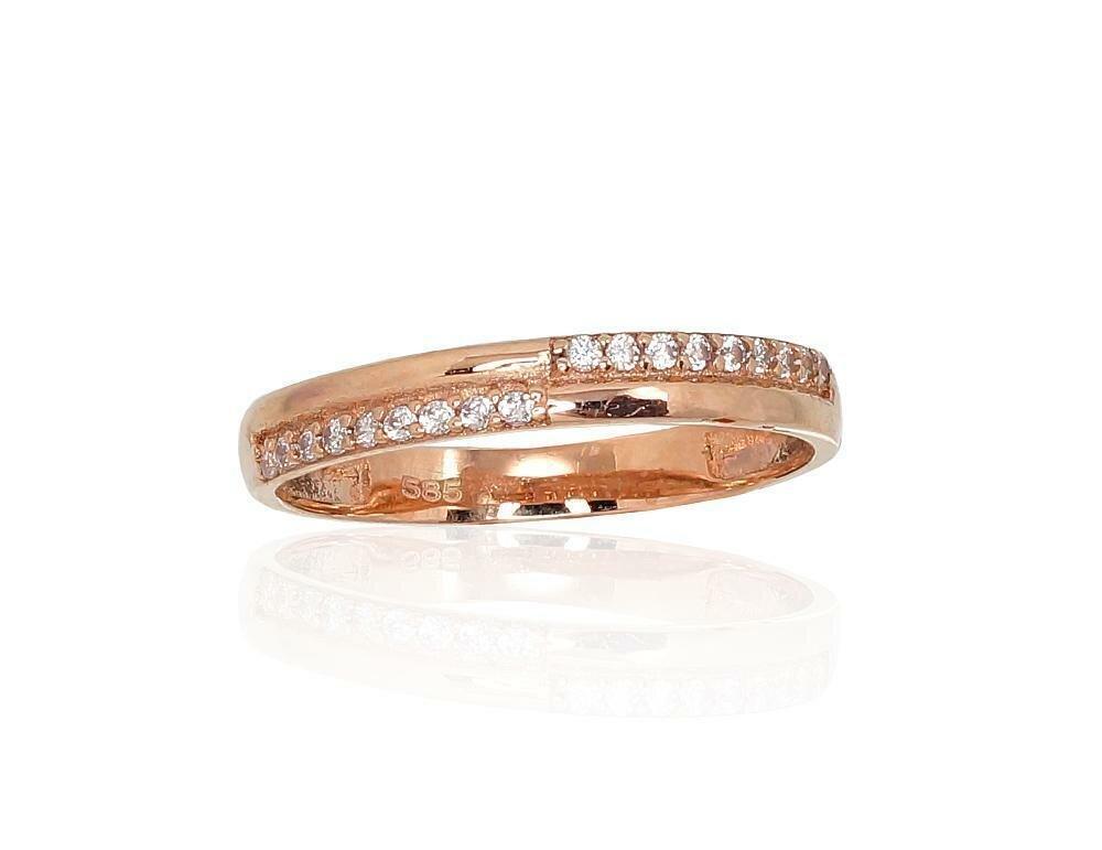 Moteriškas Žiedas, 16 dydis, modelis ADUM#1100492(Au-R)_CZ, Raudonas Auksas su Cirkoniu