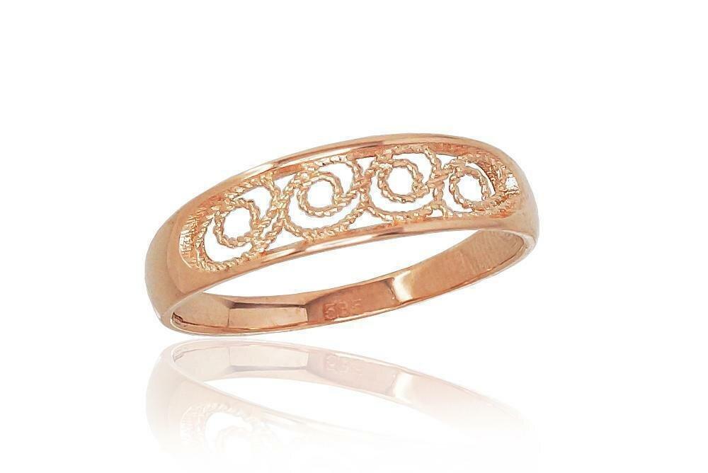 Moteriškas Žiedas, 16 dydis, modelis ADUM#1100800(Au-R), Raudonas Auksas su