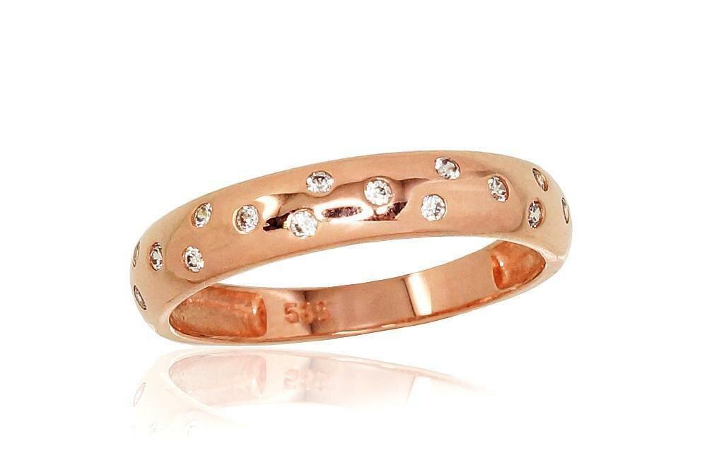 Moteriškas Žiedas, 16 dydis, modelis ADUM#1100809(Au-R)_CZ, Raudonas Auksas su Cirkoniu