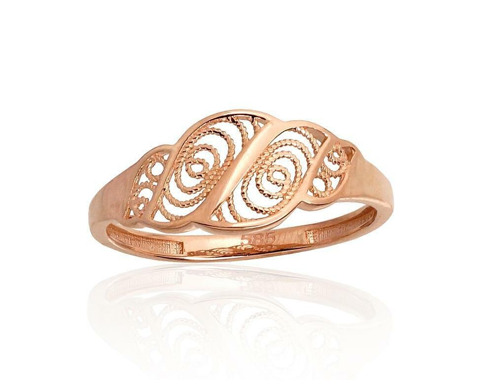 Moteriškas Žiedas, 16 dydis, modelis ADUM#1100938(Au-R), Raudonas Auksas