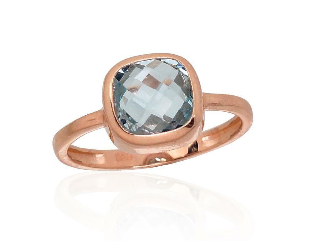 Moteriškas Žiedas, 17.5 dydis, modelis ADUM#1100913(Au-R)_TZLB, Raudonas Auksas su Mėlynas topazas