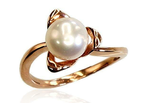Moteriškas Žiedas, 17.75 dydis, modelis ADUM#1100030(Au-R)_PE, Raudonas Auksas su kultivuotais perlais