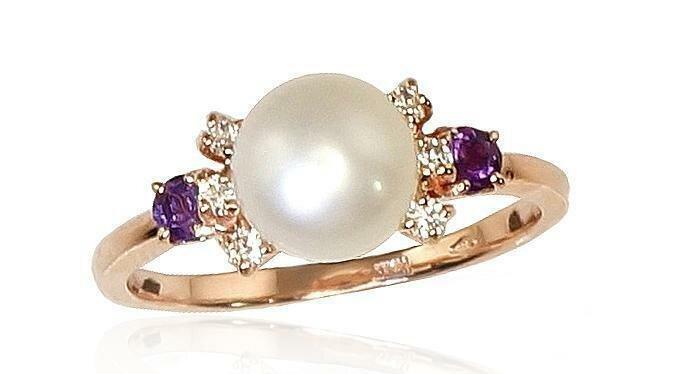 Moteriškas Žiedas, 17 dydis, modelis ADUM#1100253(Au-R)_CZ+AM+PE, Raudonas Auksas su Cirkoniu , Ametistas , kultivuoti perlas