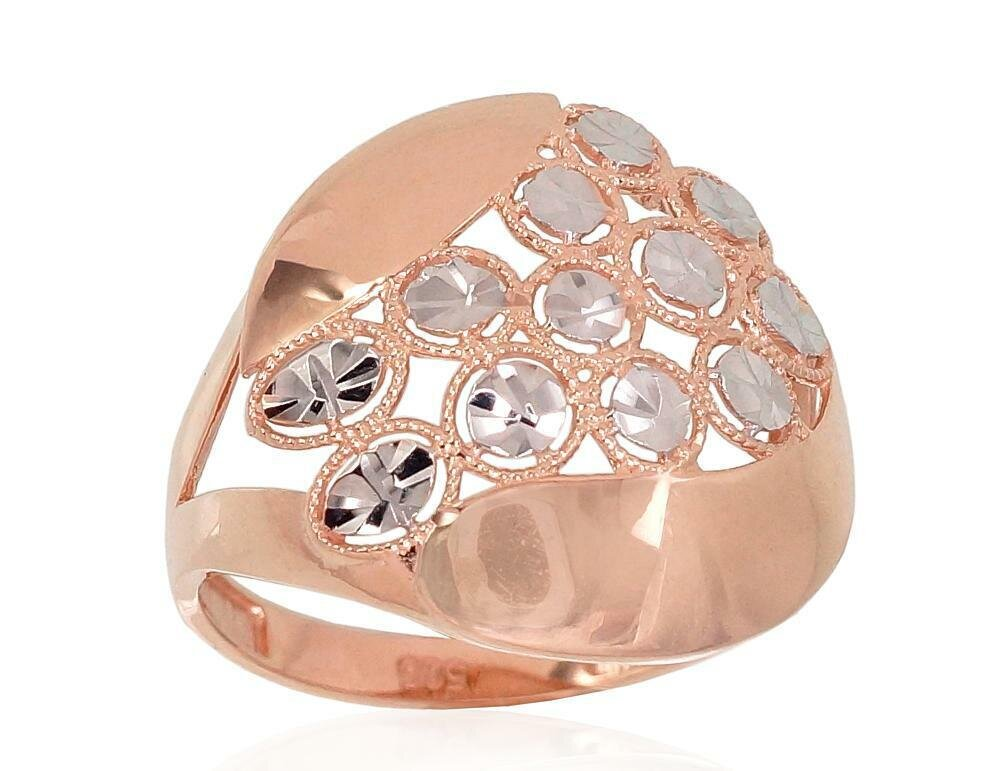Moteriškas Žiedas, su baltu auksu, modelis ADUM1100839(Au-R+PRh-W),