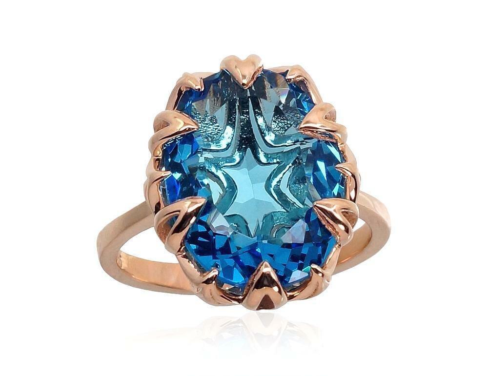Moteriškas Žiedas, 19.5 dydis, modelis ADUM#1100914(Au-R)_TZBSN, Raudonas Auksas su Mėlynas topazas (sint.)