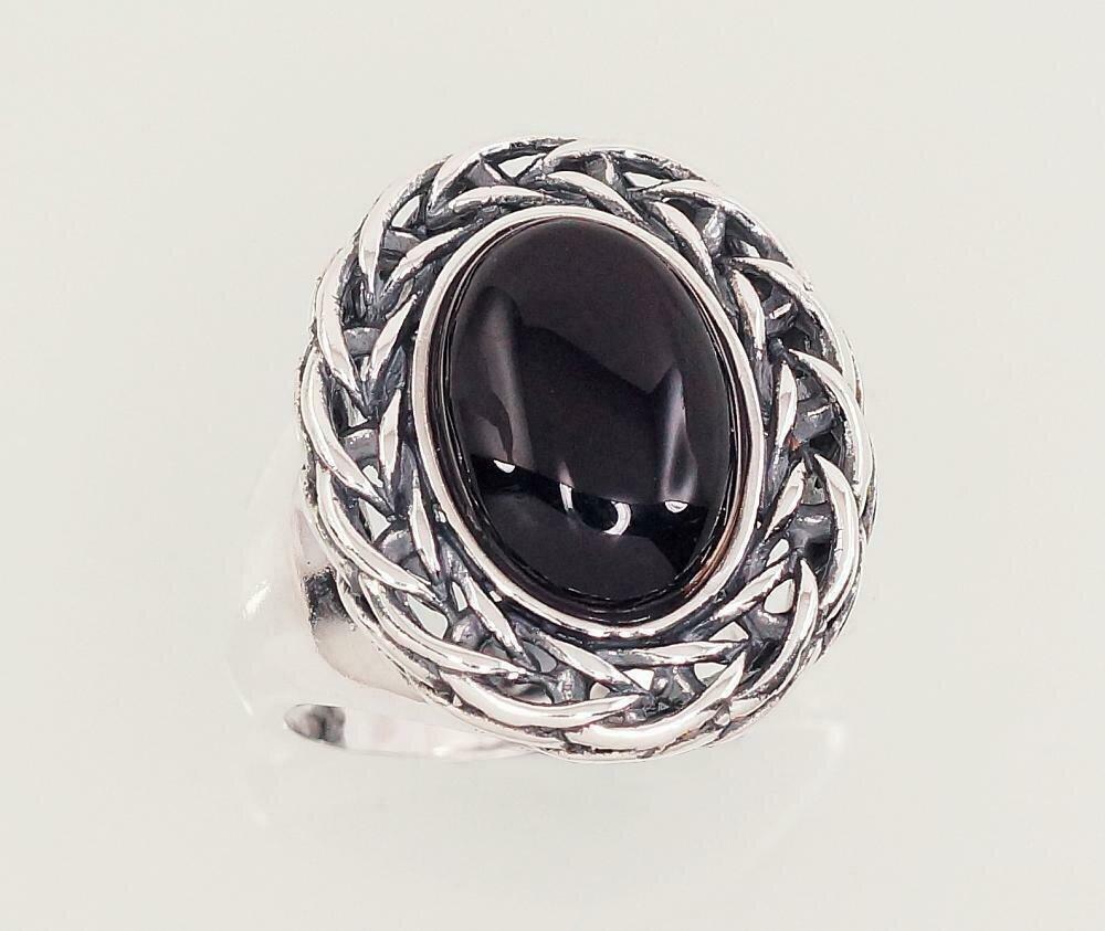 Sidabrinis žiedas, ADUN 2101427(POx-Bk)_ON-2