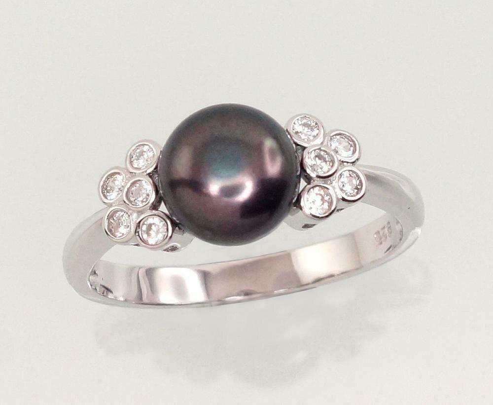 Sidabrinis žiedas, ADUN 2101464(PRh-Gr)_CZ+PE-BK