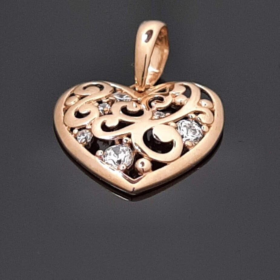 Auksinis pakabukas, Širdelė su cirkonio akutėmis