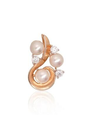 Auksinis pakabukas su perlais (kultivuoti), ADUM#1300798(Au-R+PRh-W)_CZ+PE