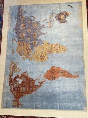 Tibet Design laine et soie. Dessin»map monde»2660fr