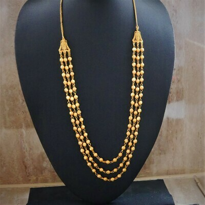 3 layer gold plated  long necklace