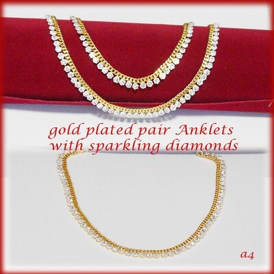 gold plated anklets with sparkling diamonds