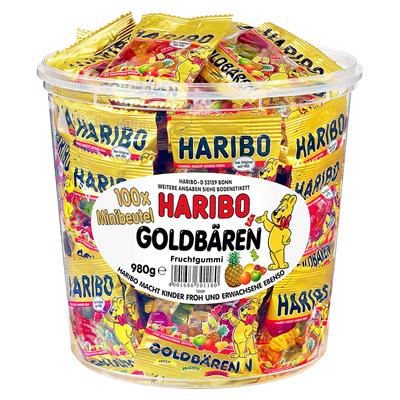 Haribo Goldbären 100 Minibeutel à 9,8 g - 1 kg Dose