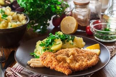 Spargel, regional mit Sauce & Kalbsschnitzel