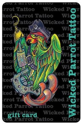 Wicked Parrot Tattoo Gift Cards