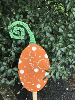 Painted Pumpkin Garden Stake