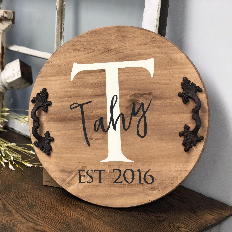 Custom Wood Round Serving Tray