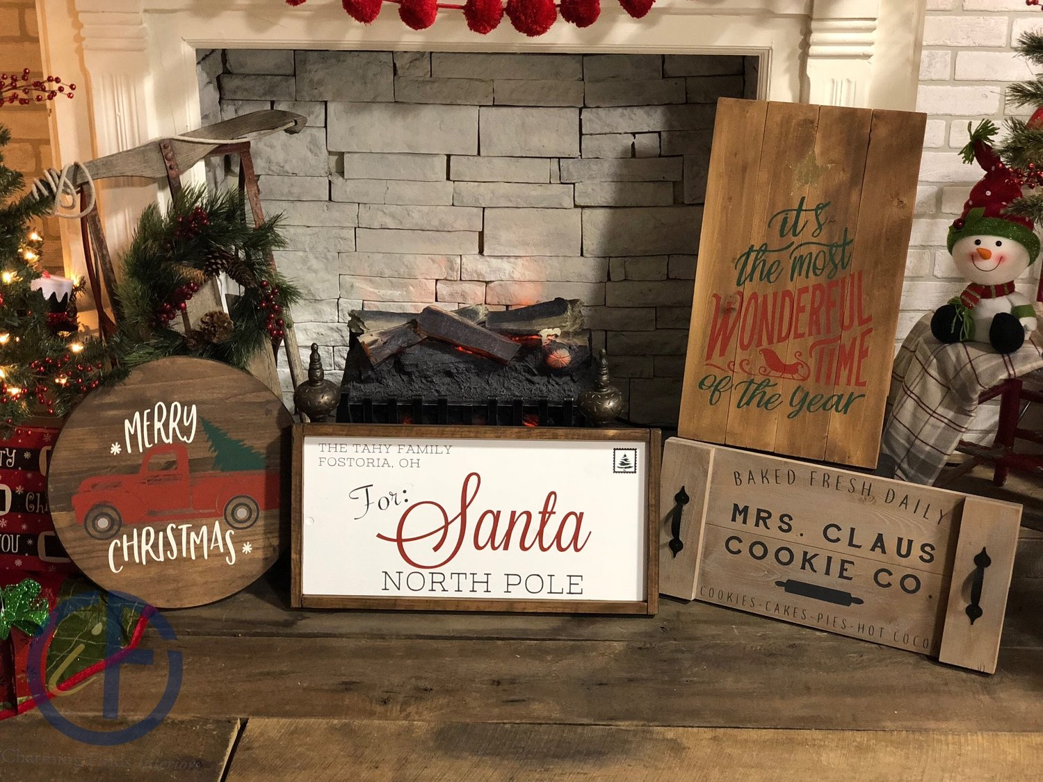 Wood Stenciled Christmas Signs