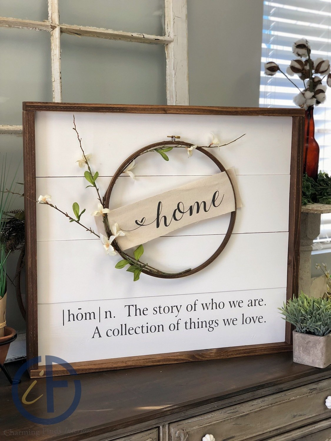 24in x 24in Farmhouse Sign with Hoop Wreath
